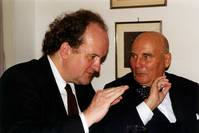 "HWH and Wolfgang Rihm, on the occasion of the world premiere of his ""Sinfonia N.9"", Berlin 1997"