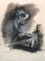 Hans Werner Henze performs own compositions. House concert, Bielefeld February 2, 1949. Wilhelm Heiner, carbon/pastel chalk 1949